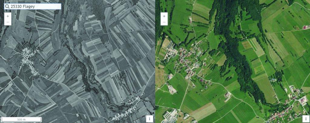Le territoire de Flagey, vu du ciel, en 1956 et 2017